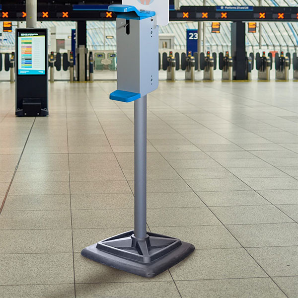 Stand cu dispenser dezinfectant picior metalic- actionare cu cotul SD1G-GOM - 1