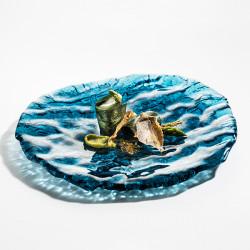 Farfurie sticla Mar Blue Pordamsa 28x25 cm XGLAS-2825B