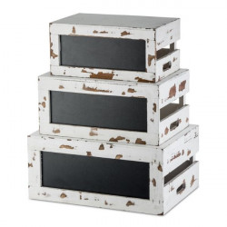 Set ladite inaltator bufet Rustic White Wood RCBCRATE2