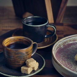 Farfurie ceasca espresso Terra Porcelain Cinder Black 11.5cm SCR-PBK11