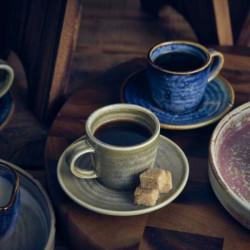 Farfurie ceasca cafea Terra Porcelain Matt Grey 14.5cm SCR-PMG14