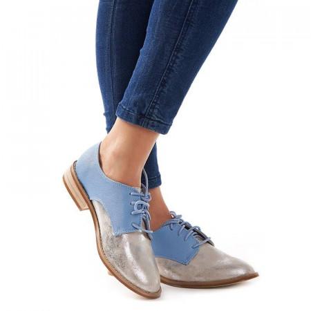 Pantofi office cu interior din piele naturala Amelia argento