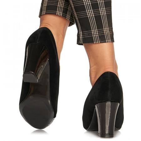 Pantofi office cu toc mediu gros din velur Argentina negru