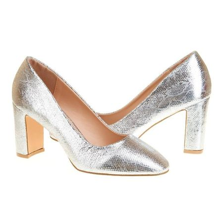 Pantofi office cu toc mediu Salma arginto