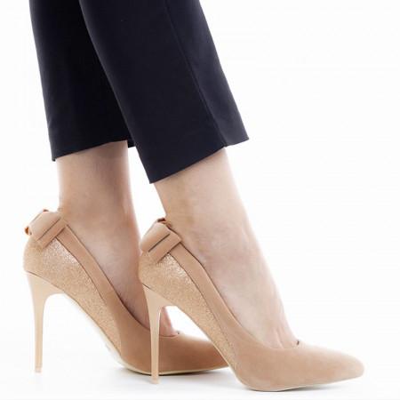 Pantofi stiletto cu toc inalt din velur cu material lucios Adeline bej auriu
