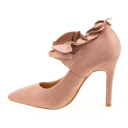 Pantofi stiletto din velur cu barete si model Mia