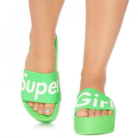 Saboti cu talpa inalta sport rich Super girl verde