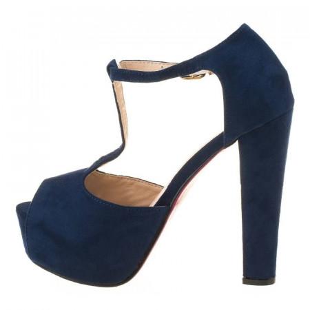 Sandale cu platforma din velur Mia albastrii