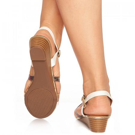 Sandale cu talpa joasa Benita alb cu auriu