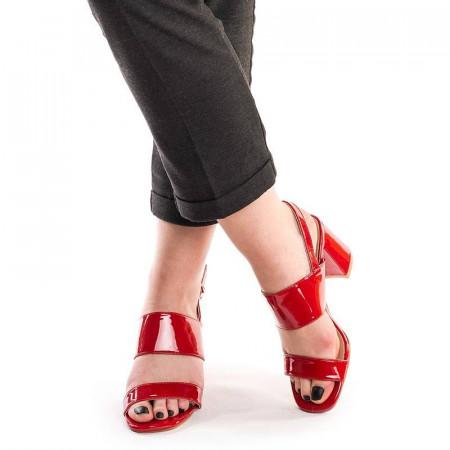 Sandale cu toc gros elegant Albertina rosu