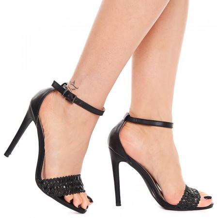 Sandale cu toc inalt elegante Olivia nero
