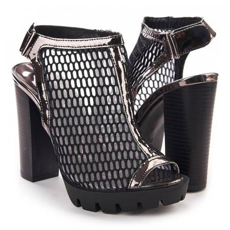 Sandale cu toc si plasa Salma nero