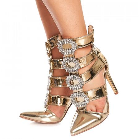 Sandale cu toc Sophia auriu