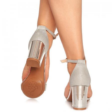 Sandale de ocazie cu toc mediu Leticia argintiu