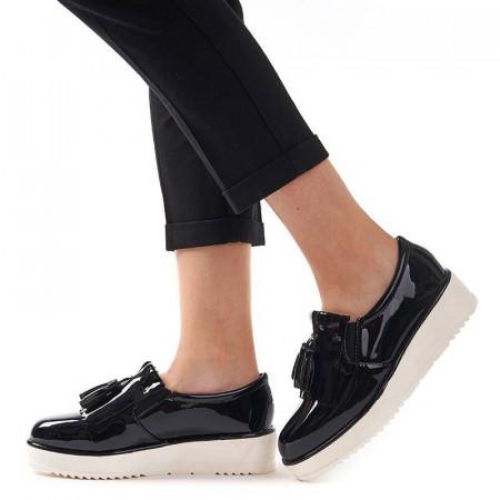Sneakers din lac cu talpa inalta Melania negru