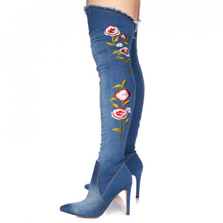 Cizme cu toc peste genunchi din blugi Giuliana blu