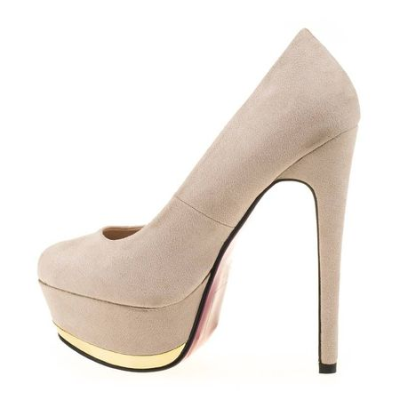 Pantofi cu platforma din velur Gilda bej