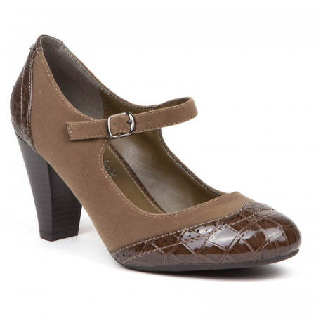 Pantofi dama, casual, cu toc mic si curelusa, Taupe