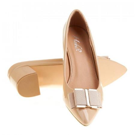 Pantofi office stiletto cu toc mic din lac Layla bej