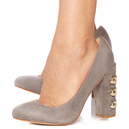 Pantofi stiletto cu toc gros din velur Giuseppina gri