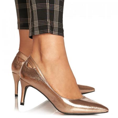 Pantofi stiletto cu toc mediu Amalia bronze