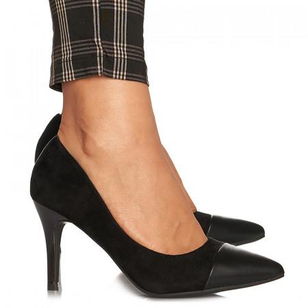 Pantofi stiletto cu toc mediu din velur Alicia negru