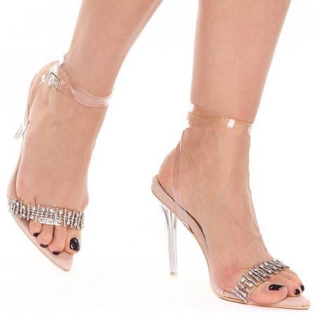 Sandale cu toc elegante din velur cu bareta transparenta Salma nude