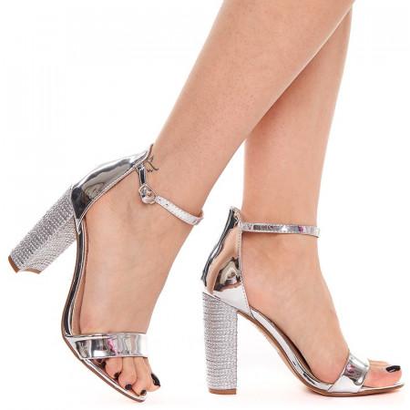 Sandale cu toc gros elegante Antonia argintiu