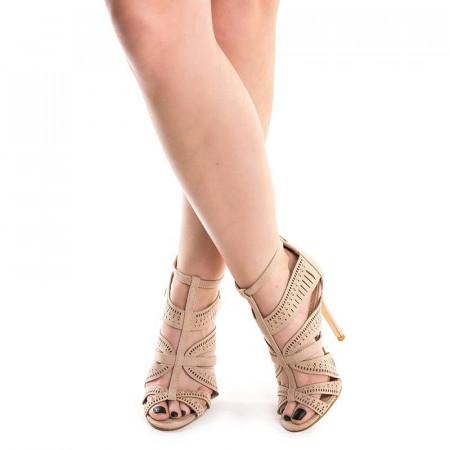 Sandale cu toc si barete Antonia bej