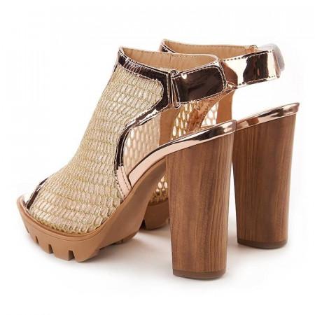 Sandale cu toc si plasa Salma oro
