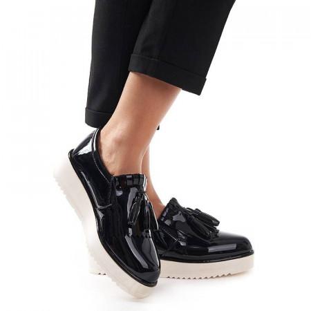 Sneakers din lac cu talpa inalta Melania nero
