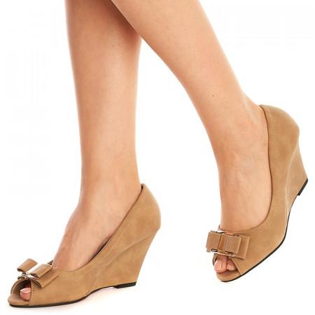 Pantofi cu platforma Theresa bej inchis