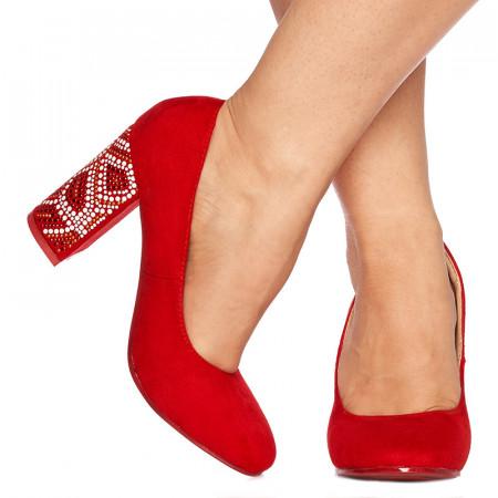 Pantofi cu toc inalt din velur Grazia rosu