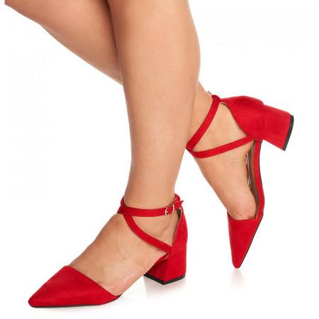 Pantofi cu toc mic gros Ambrosine rosu