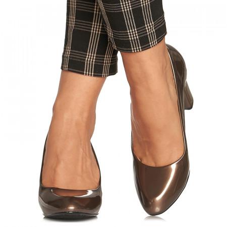 Pantofi office cu toc mediu gros Adelina bronze