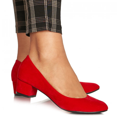 Pantofi office cu toc mic din velur Alma rosu