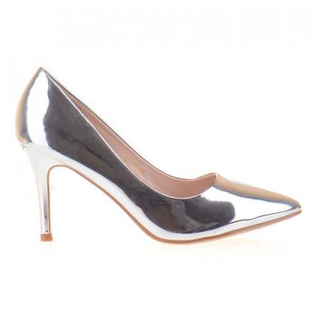 Pantofi stiletto argintiu Bianca