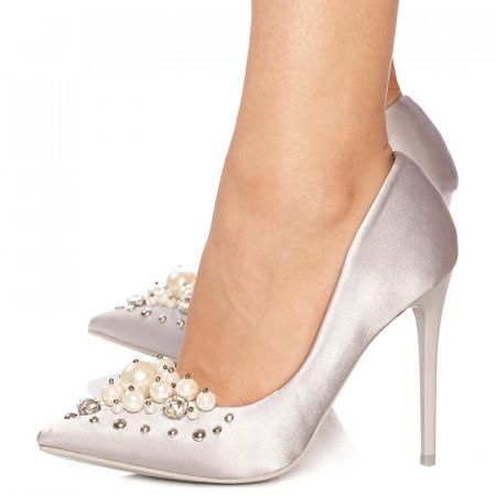 Pantofi stiletto cu toc inalt din satin Giuliana