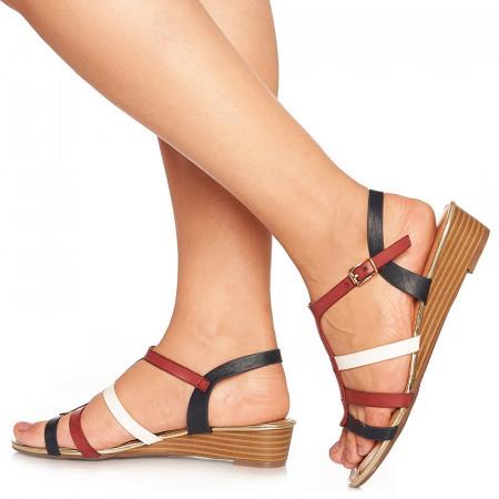 Sandale cu talpa joasa Benita rosu cu alb