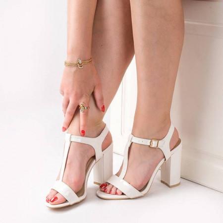 Sandale cu toc gros chic Alma alb