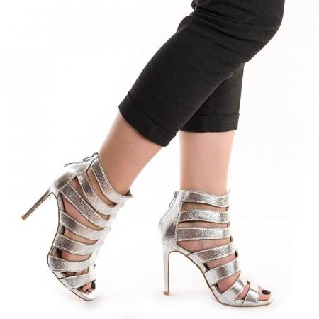 Sandale cu toc romane Dona argintiu