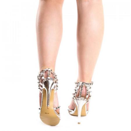 Sandale cu toc si tinte elegante Amira argintiu