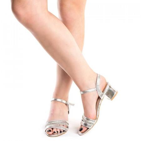 Sandale elegante cu toc mic Debora argintiu