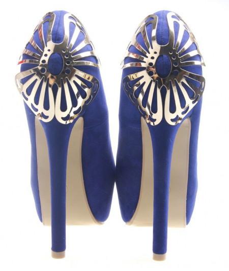 Pantofi cu platforma albastrii Calida