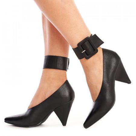 Pantofi cu toc gros si curea pe glezna inclusa Amalia negru