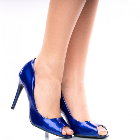 Pantofi dama cu toc peep toe Martina albastru