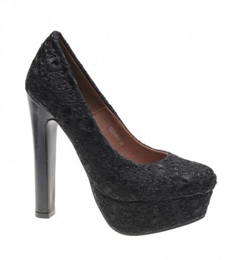 Pantofi de dama black Romantic Flower