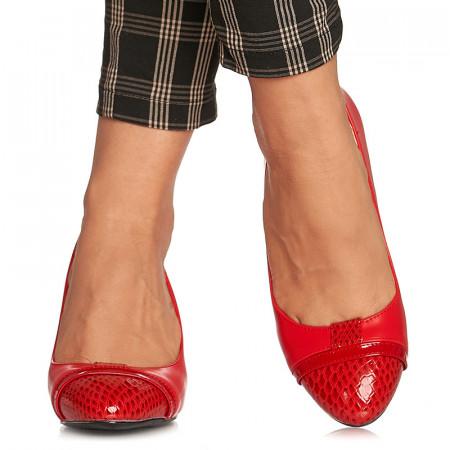 Pantofi office cu toc mediu gros Emilia rosu