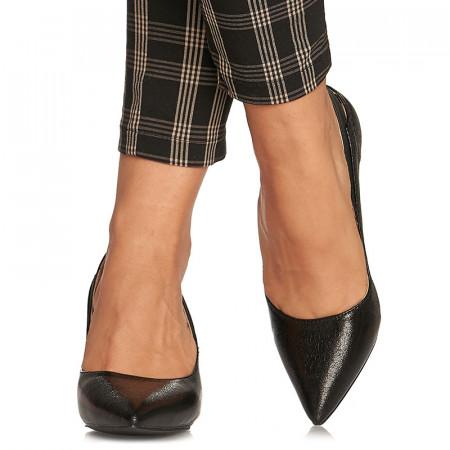 Pantofi stiletto cu toc mediu Amalia negru