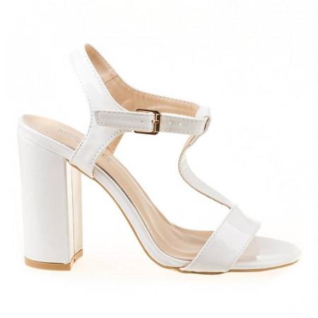 Sandale cu toc gros Amalia alb